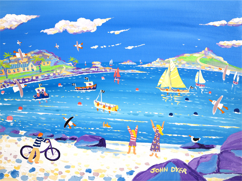 Signed Limited Edition Print by Cornish Artist John Dyer. Fun on the Beach, Old Grimsby, Tresco