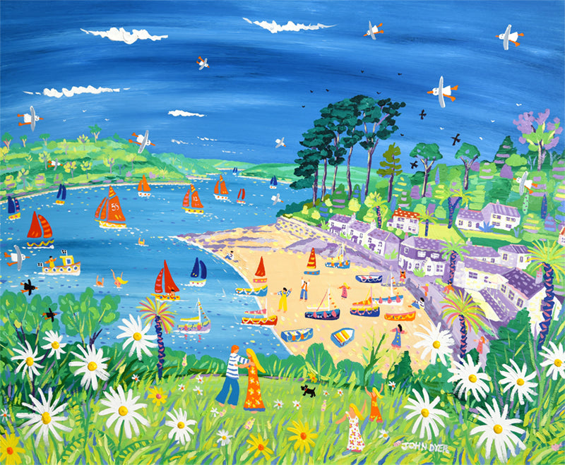 Signed Limited Edition Print by John Dyer. Moon Daisy Dance, Helford Passage