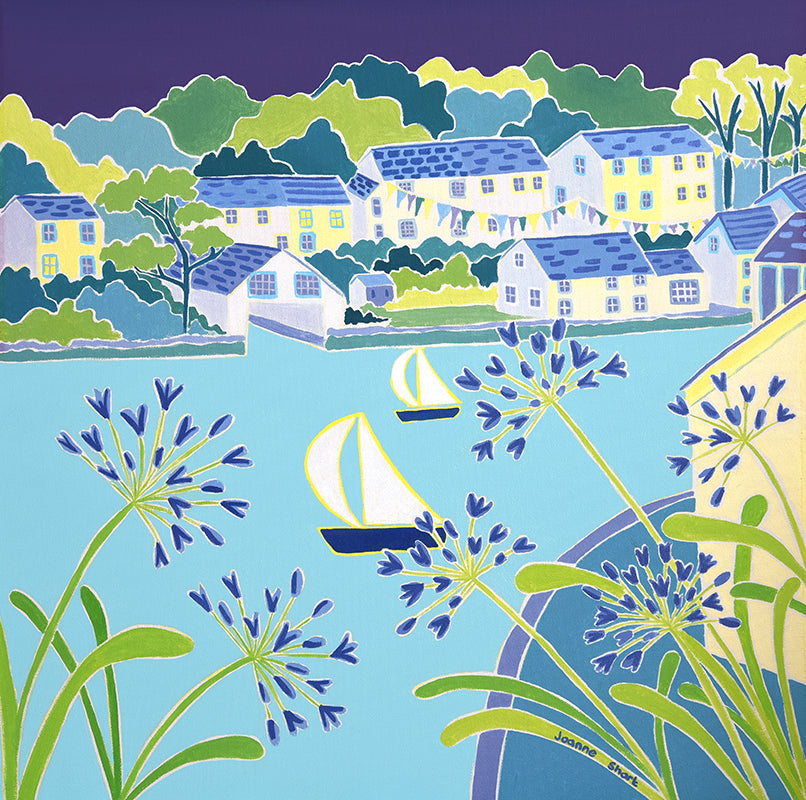 Original Painting by Joanne Short. Sailing past the Agapanthus, Helford.