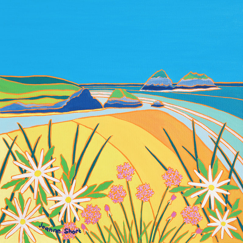 Original Painting by Joanne Short. Sea Pinks and Daisies, Holywell Bay, Cornwall.