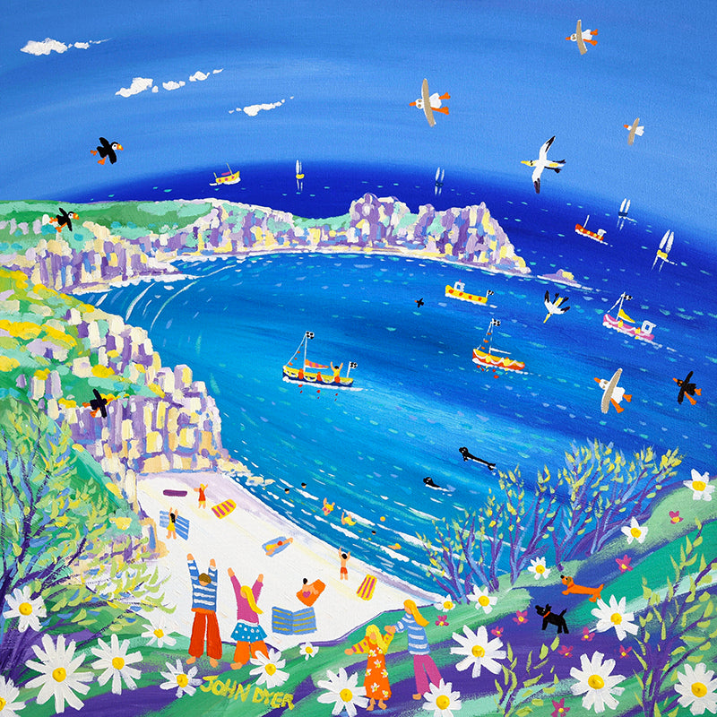John Dyer Painting. Sparkling Sea and White Sand, Porthcurno, Cornwall.