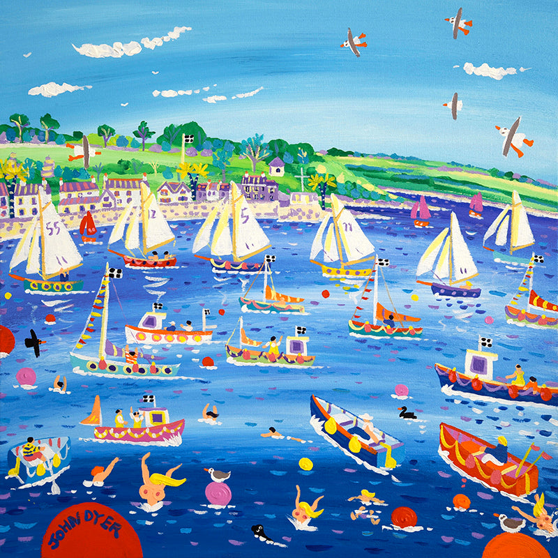John Dyer Painting. Racing on the River, Falmouth, Cornwall. Gaff riggers - Tuesday night races in Falmouth, Flishing