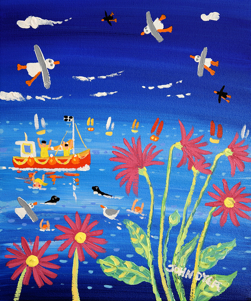 John Dyer Painting. Bobbing in the Blue, Cornwall.
