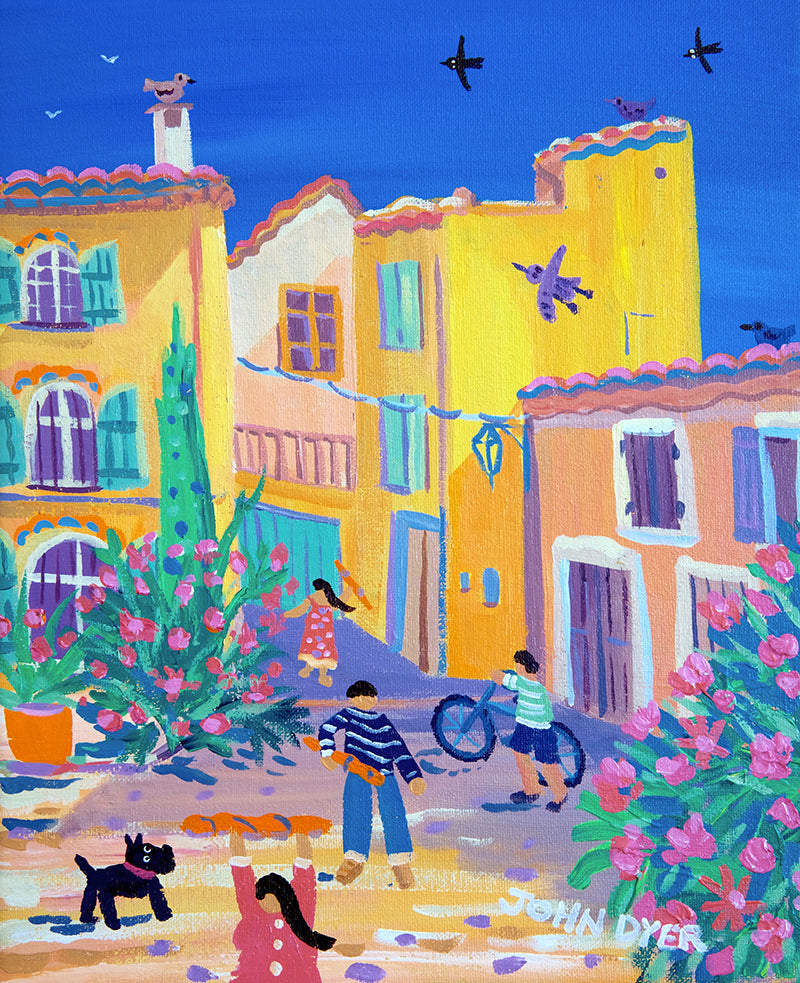 John Dyer Painting. Collecting the Bread, Rasteau, Provence, France.