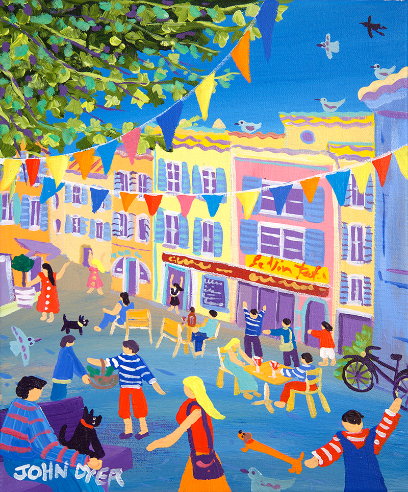 John Dyer Painting. French Bunting and Wine, Nyons, Provence, France.