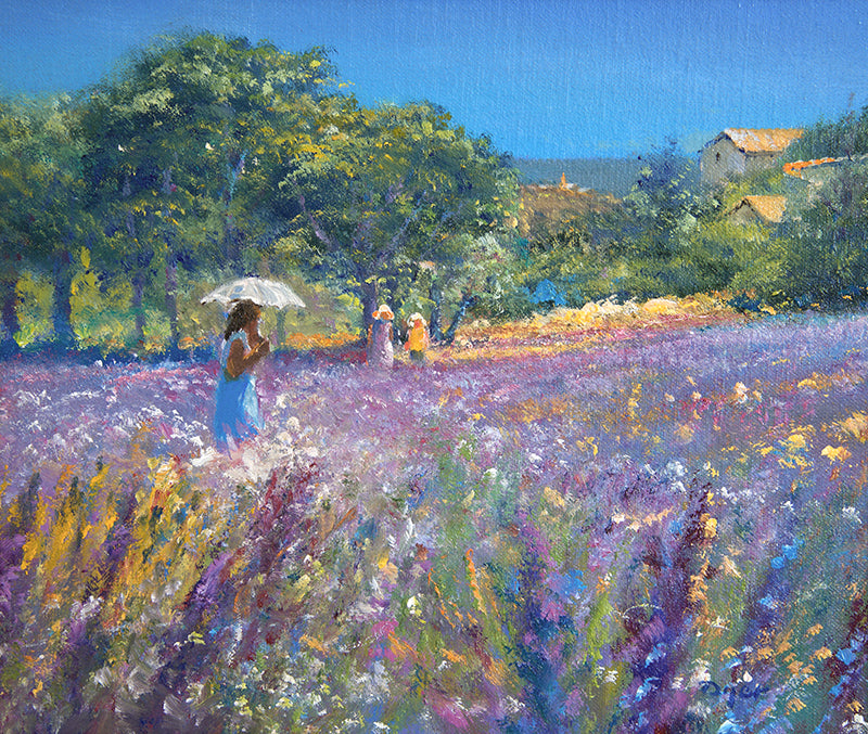Original Painting by Ted Dyer. Strolling through the Lavender, Provence