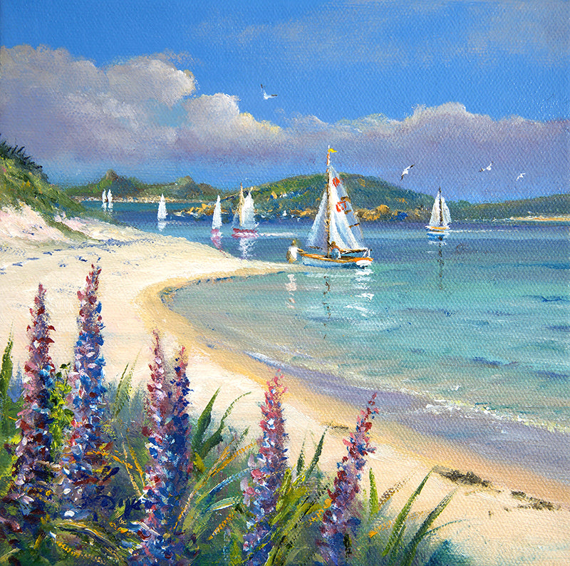Original Painting by Ted Dyer. A Calm May Morning. Tresco