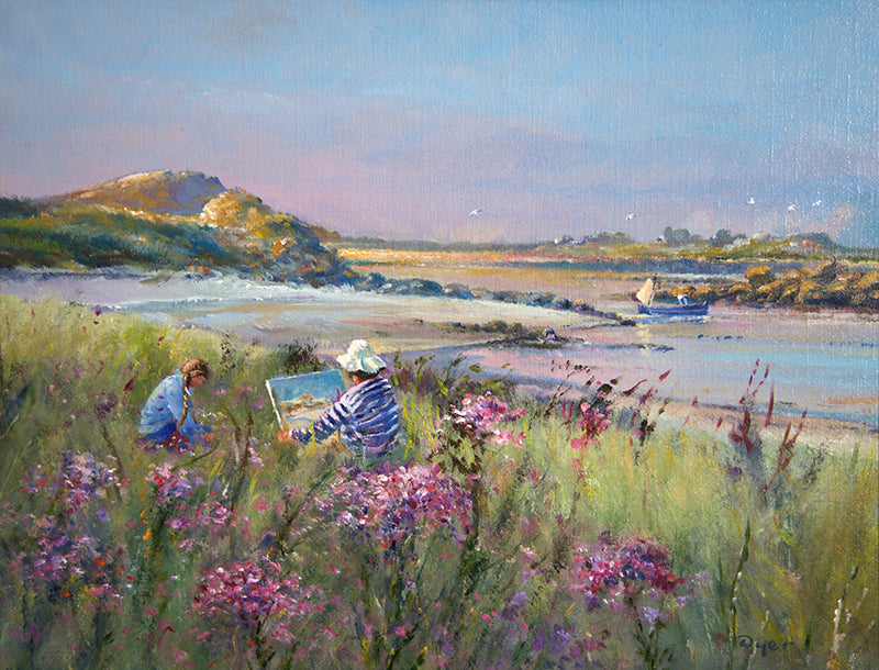 Original Painting by Ted Dyer. Enjoying the Soft Light. Tresco