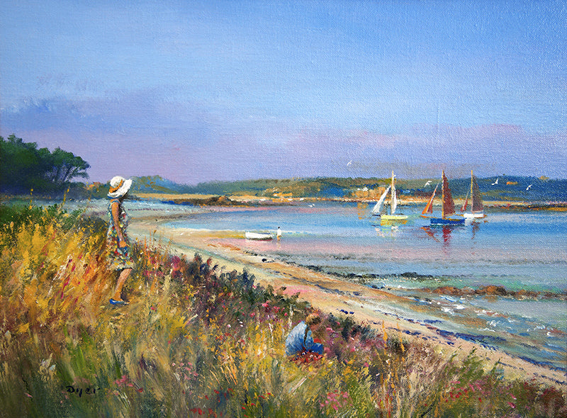 Original Painting by Ted Dyer. Sails in the Bay. Tresco