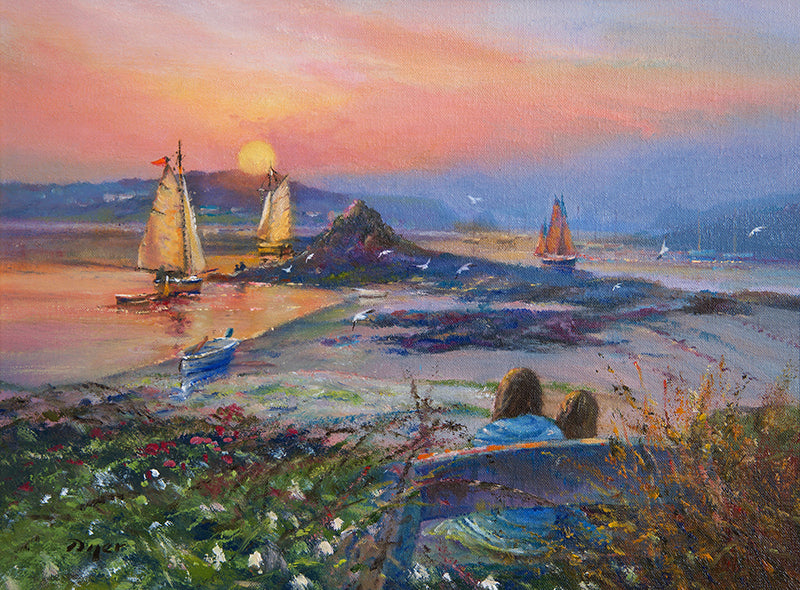 Original Painting by Ted Dyer. Warmth of the Day. Tresco