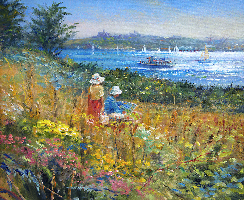 Original Painting by Ted Dyer. Painting and Picnicking. St Mawes
