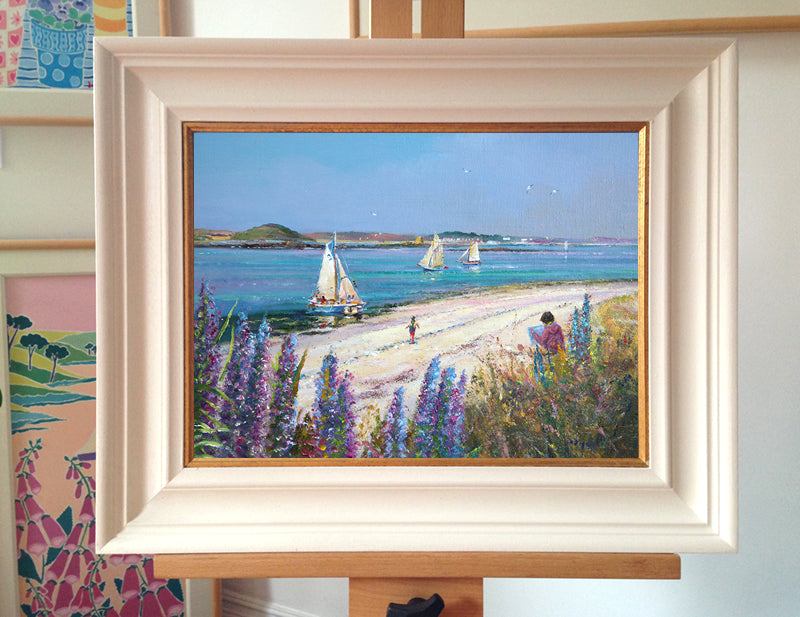 Original Painting by Ted Dyer. Echiums by the Shore. Tresco