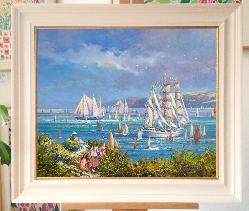 Original Painting by Ted Dyer. Watching the Tall Ships, Falmouth