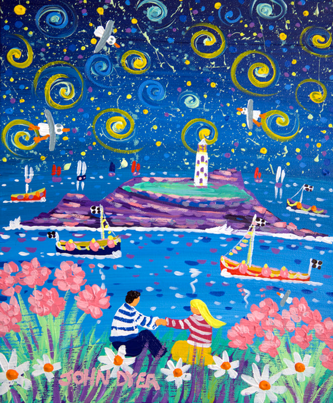 John Dyer Painting. Celestial Love, Godrevy Lighthouse