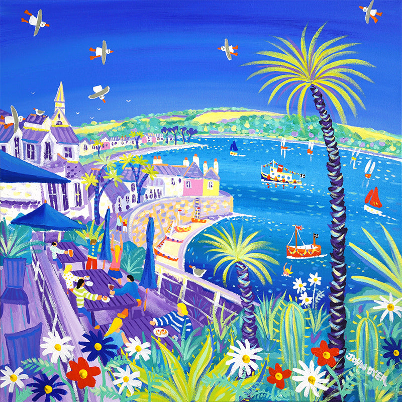 Tresanton Hotel terrace looking towards St Mawes in Cornwall. Signed print by artist John Dyer.