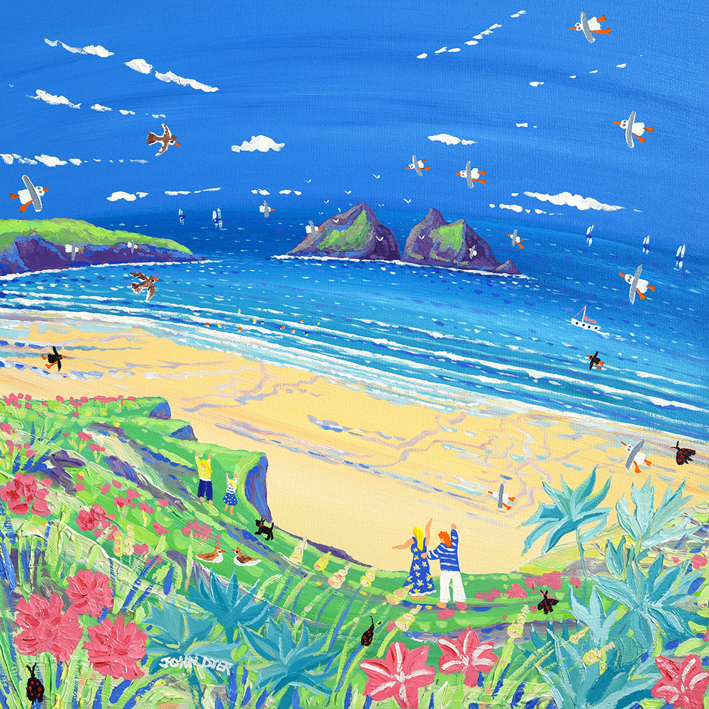Limited Edition Print by Cornish Artist John Dyer. Summer Days, Holywell Bay