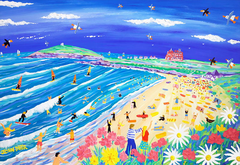 Limited Edition Print by John Dyer. Fistral Beach Fun, Newquay, Cornwall.