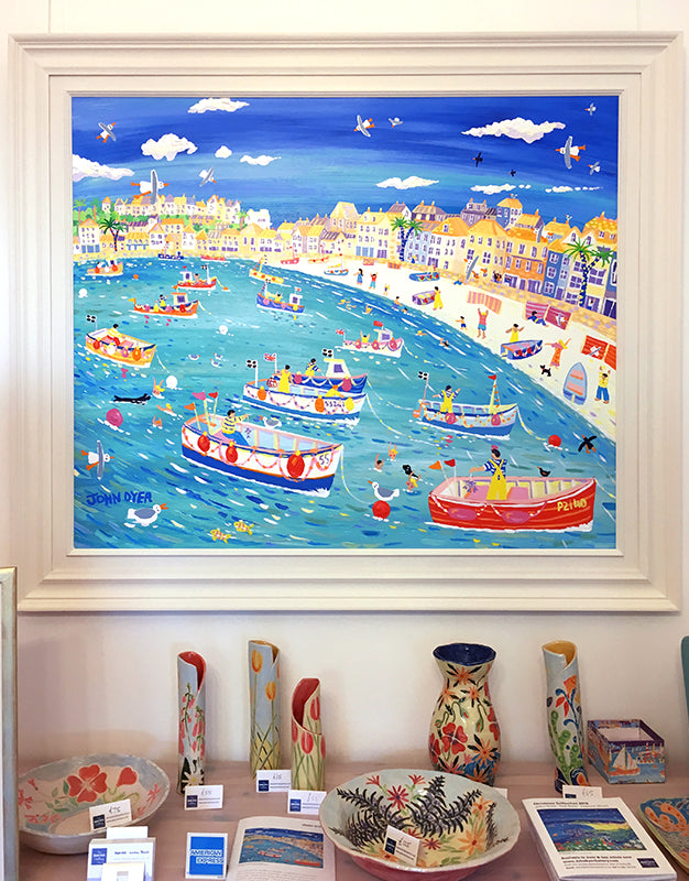John Dyer Painting. Swimming with Seals, St Ives, Cornwall.