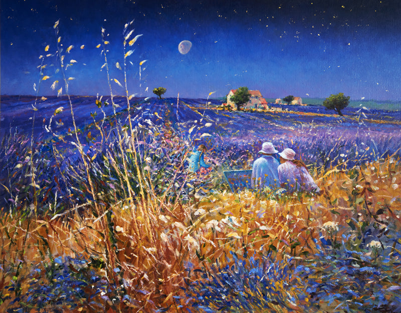 Original Painting by Ted Dyer. Lavender Fields under the Stars, Provence