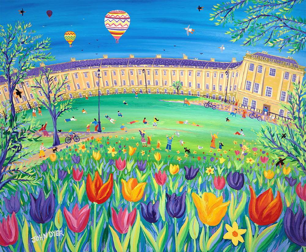 Hot air balloons over the Royal Crescent Bath - painting and print by John Dyer