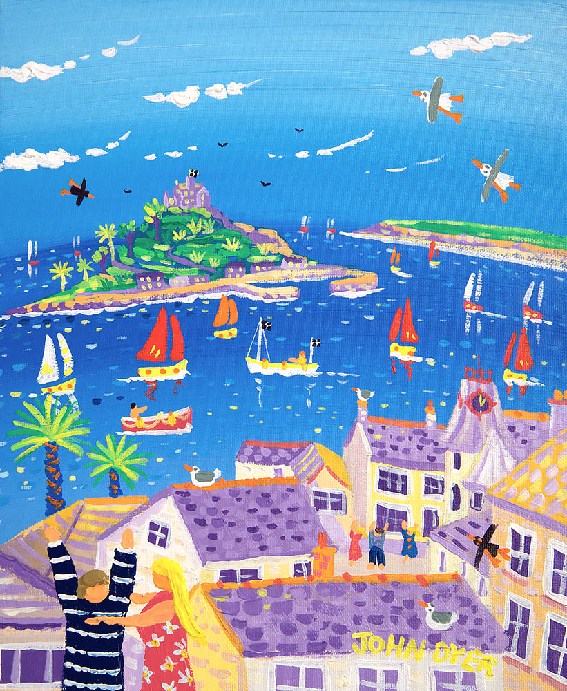 John Dyer Painting. Time for a Cuddle, Marazion, St Michael's Mount