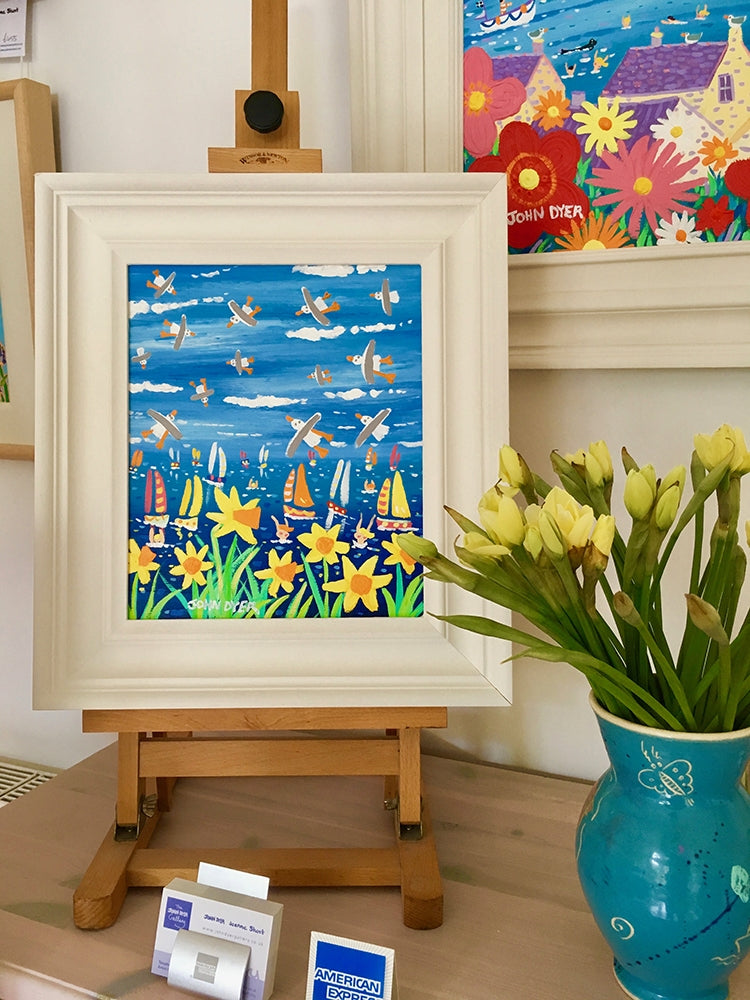 John Dyer Painting. Springtime Cornish Seagulls and Daffodils