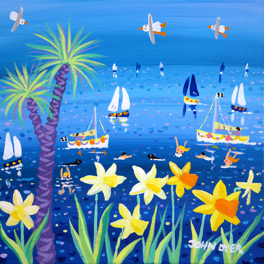 John Dyer Painting. Spring Dippers. Daffodils and swimmers in Cornwall