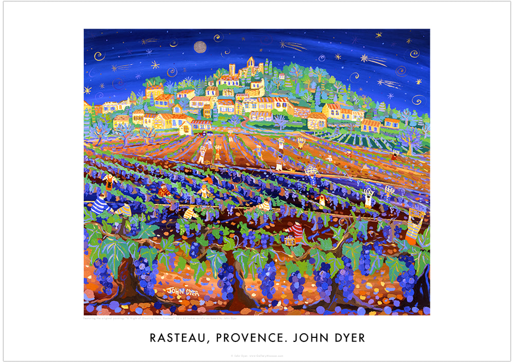 Poster of Rasteau by John Dyer. A Night of Shooting Stars, Grape Harvest, Rasteau, Provence.