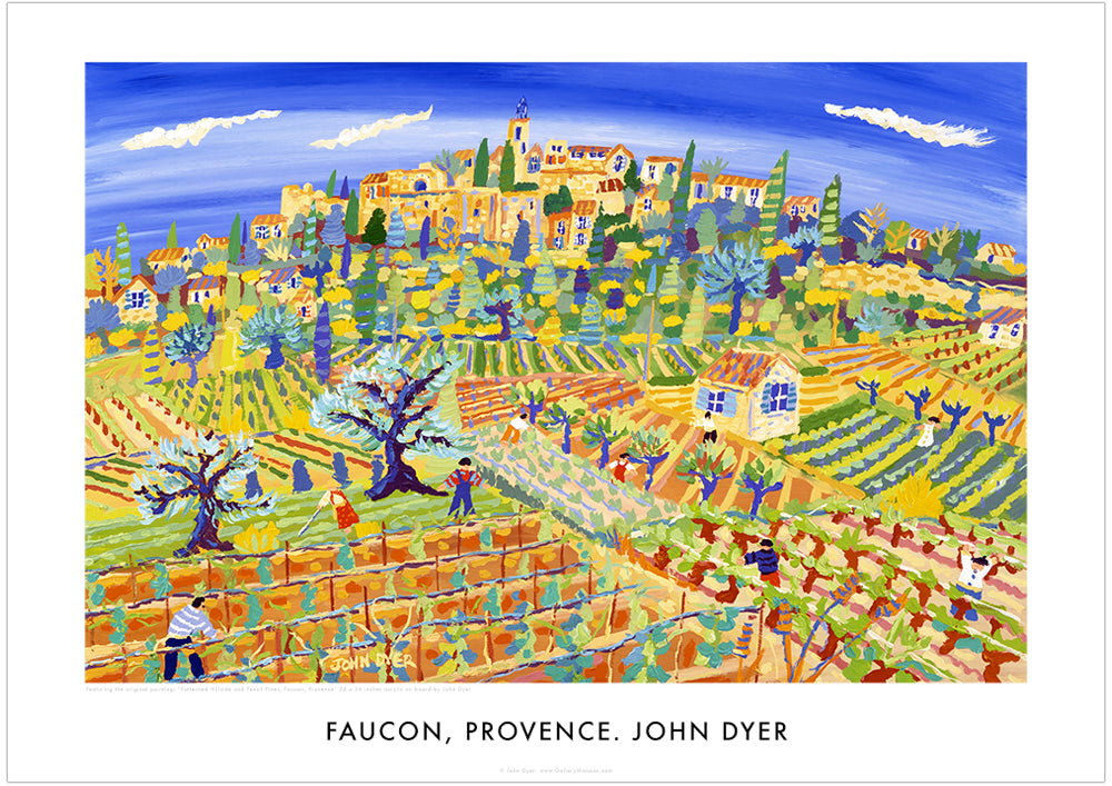 Poster of Faucon Village, Provence by John Dyer. Patterned Hillside and pencil Pines