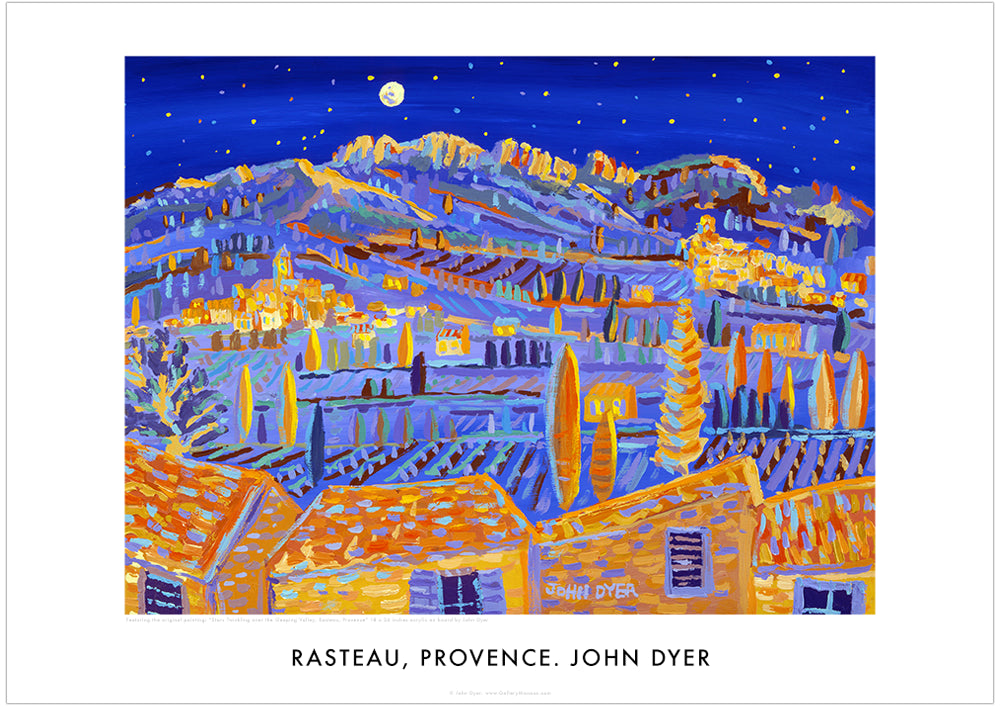 Poster Rasteau, by John Dyer. Twinkling Stars over the Sleeping Valley