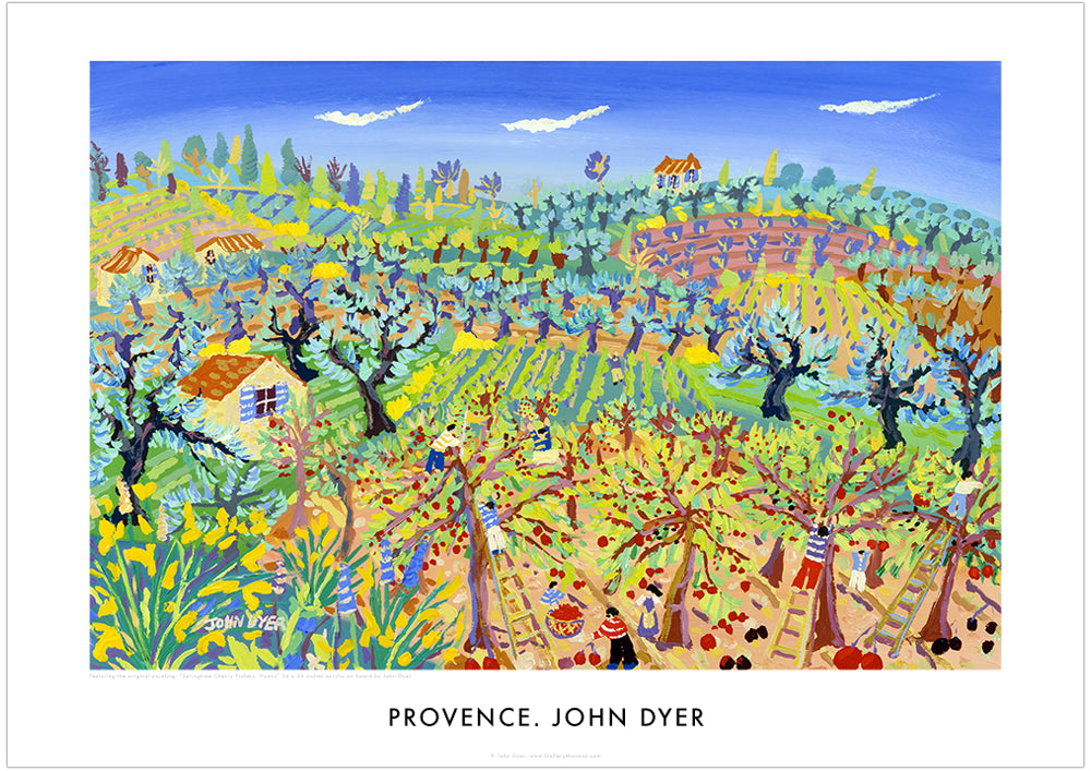Art Poster Springtime Cherry Pickers, Nyons, Provence by John Dyer