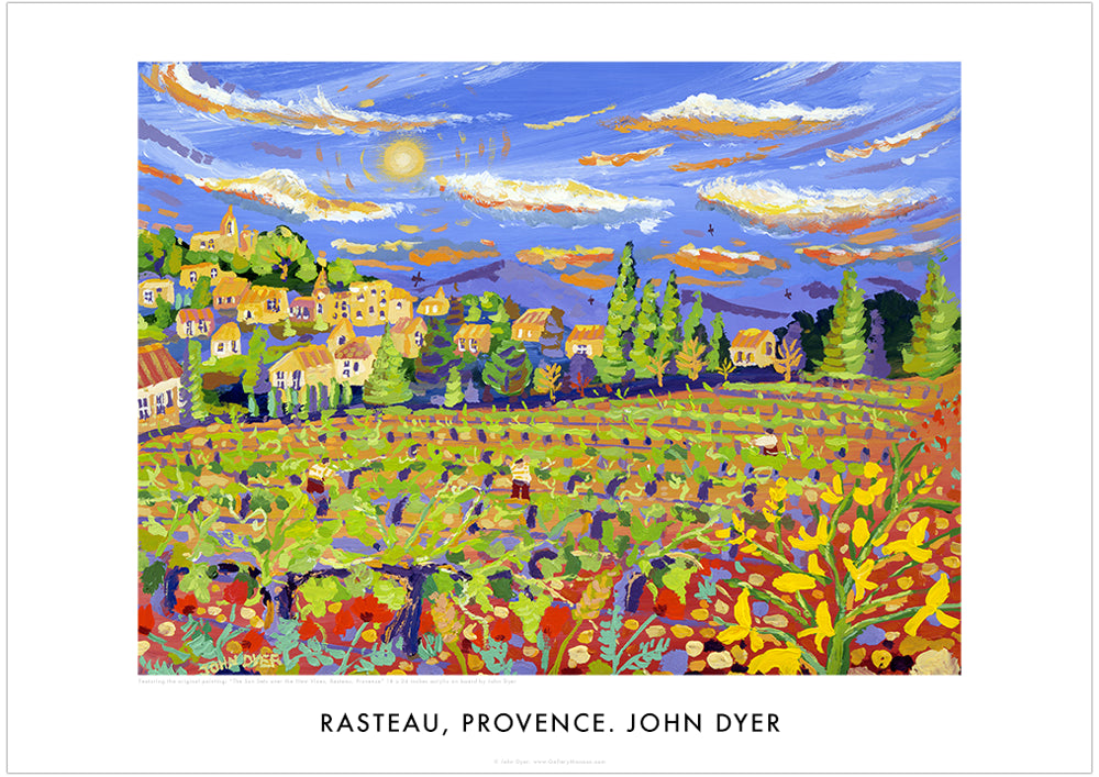 Art Poster. Rasteau. The Sun sets over the New Vines, Rasteau, Provence by John Dyer