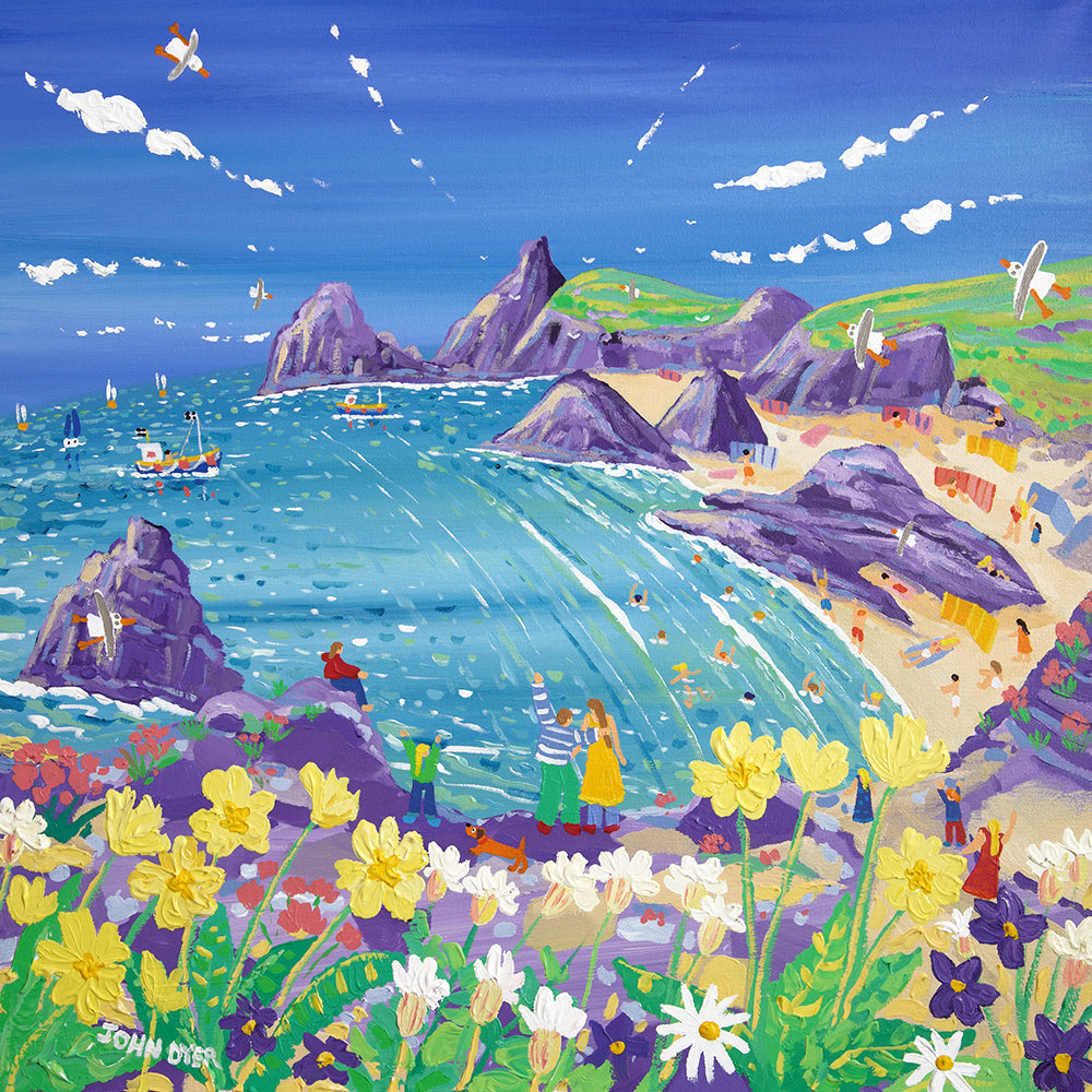 John Dyer Painting. Wild Flowers and Sunshine, Kynance Cove