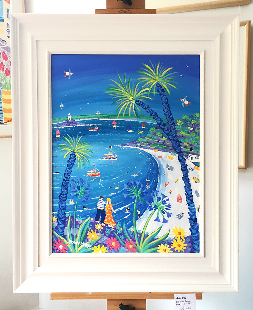 John Dyer Painting. St Ives Bay Blue, Portminster Beach