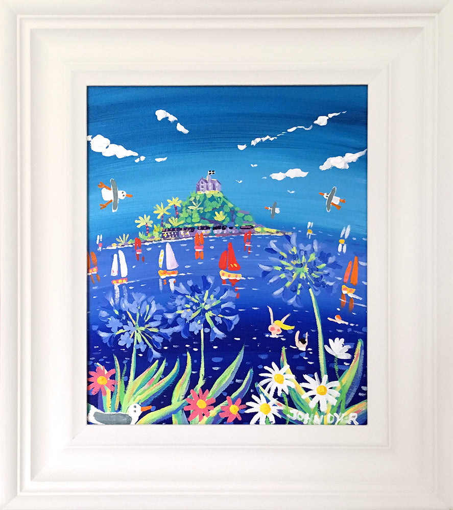 John Dyer Painting. Agapanthus Swim, Mounts Bay