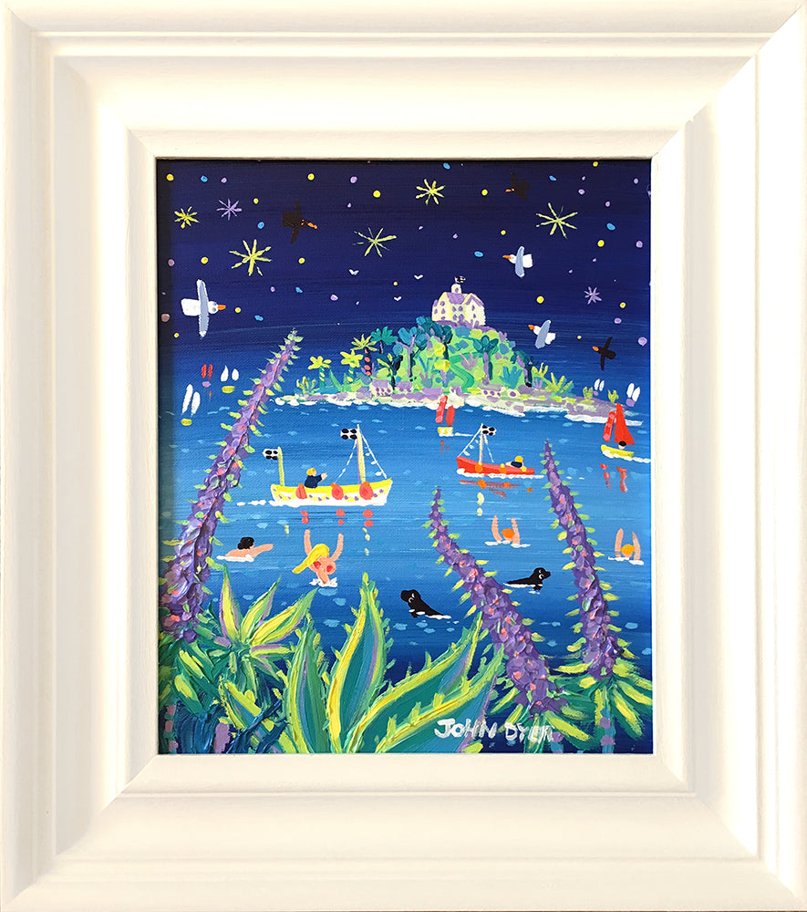 John Dyer Painting. Starlit Echiums, St Michael's Mount