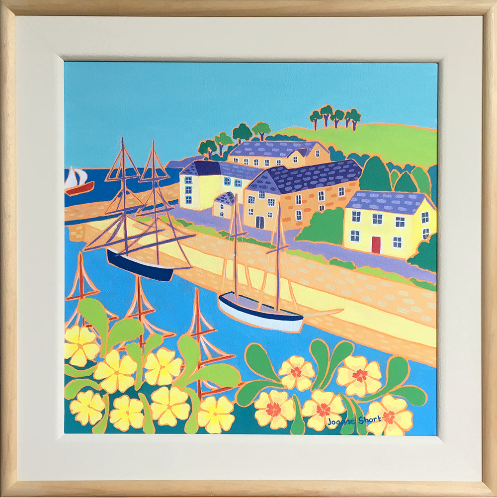 Original Painting by Joanne Short. Tall Ships and Primroses, Charlestown