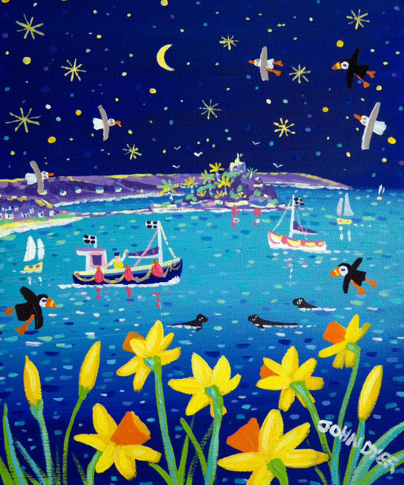 John Dyer Painting. Starlight and Daffodils, Mount's Bay