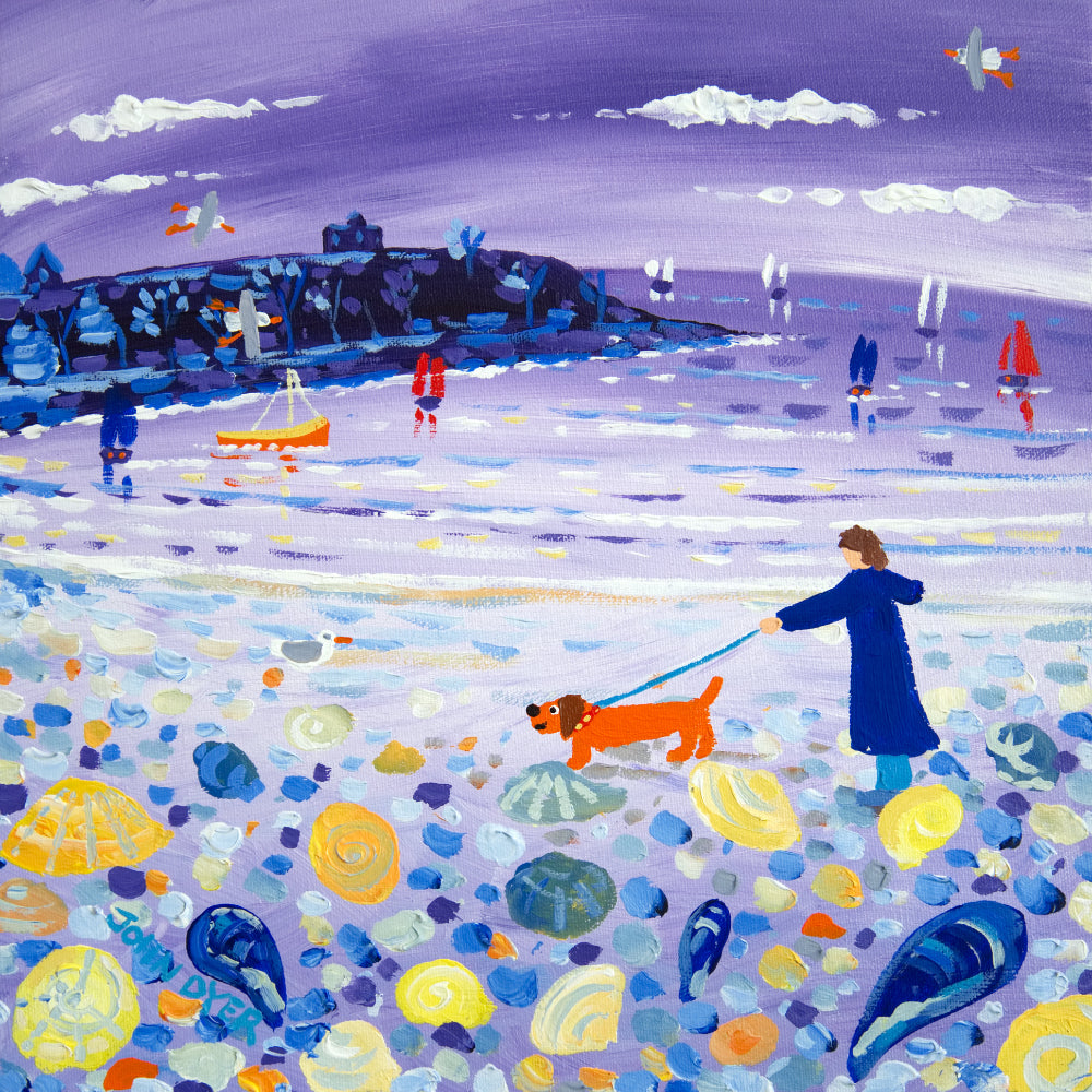 John Dyer Painting. Searching for Shells, Castle Beach, Falmouth
