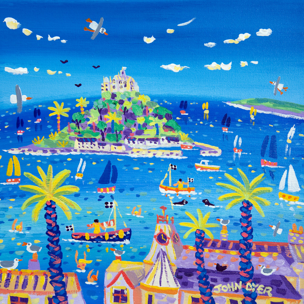 John Dyer Painting. Sails, Swimmers and Seals, Marazion