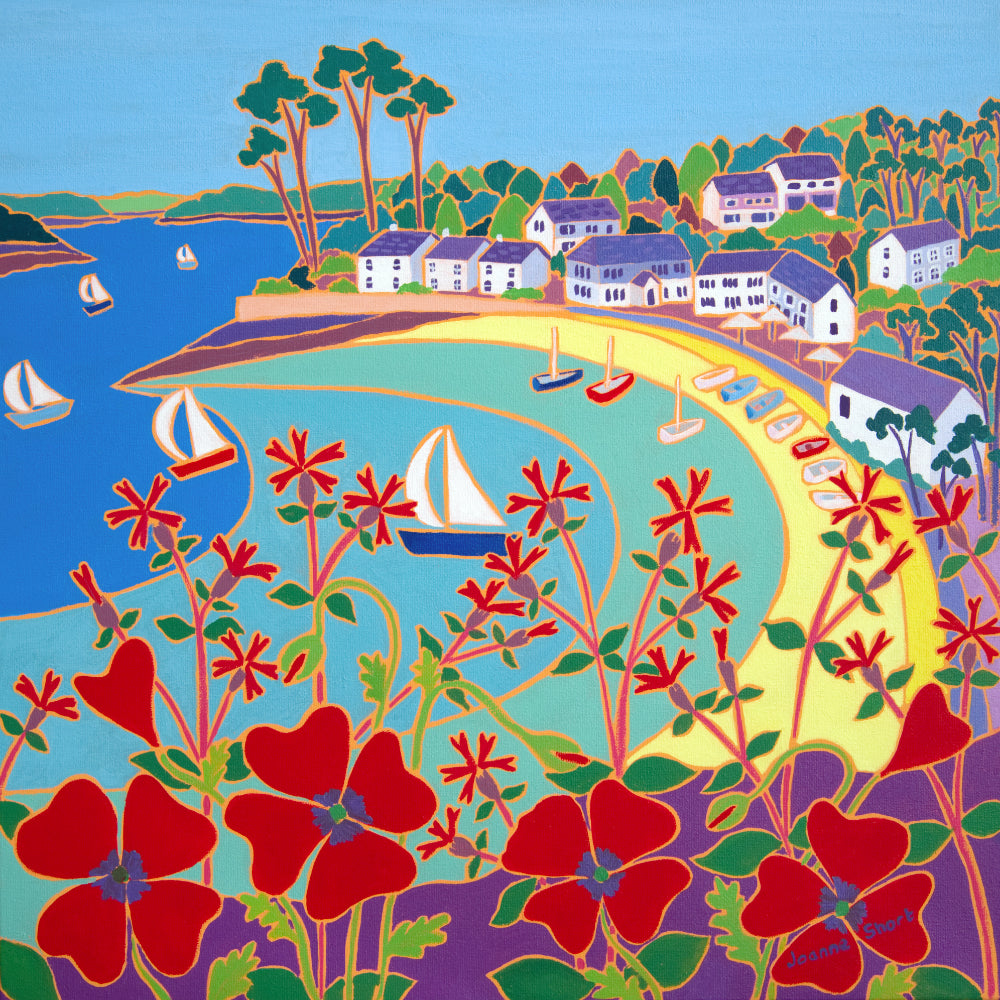 Original Painting by Joanne Short. Poppies and Pines, Helford passage