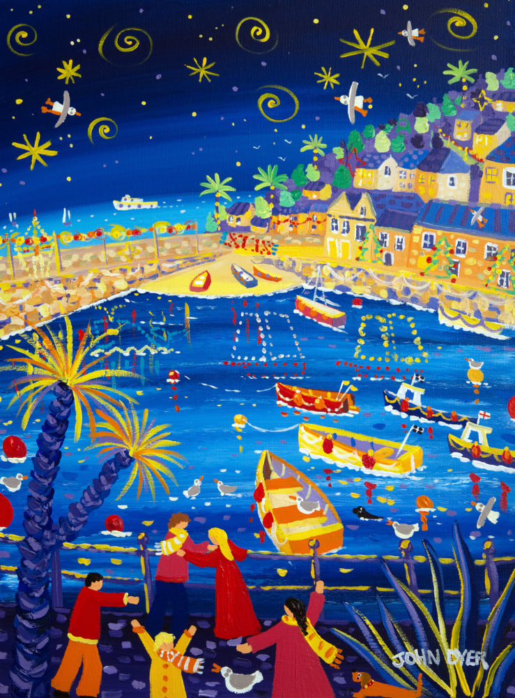 John Dyer Painting. Twinkling lights, Mousehole Harbour