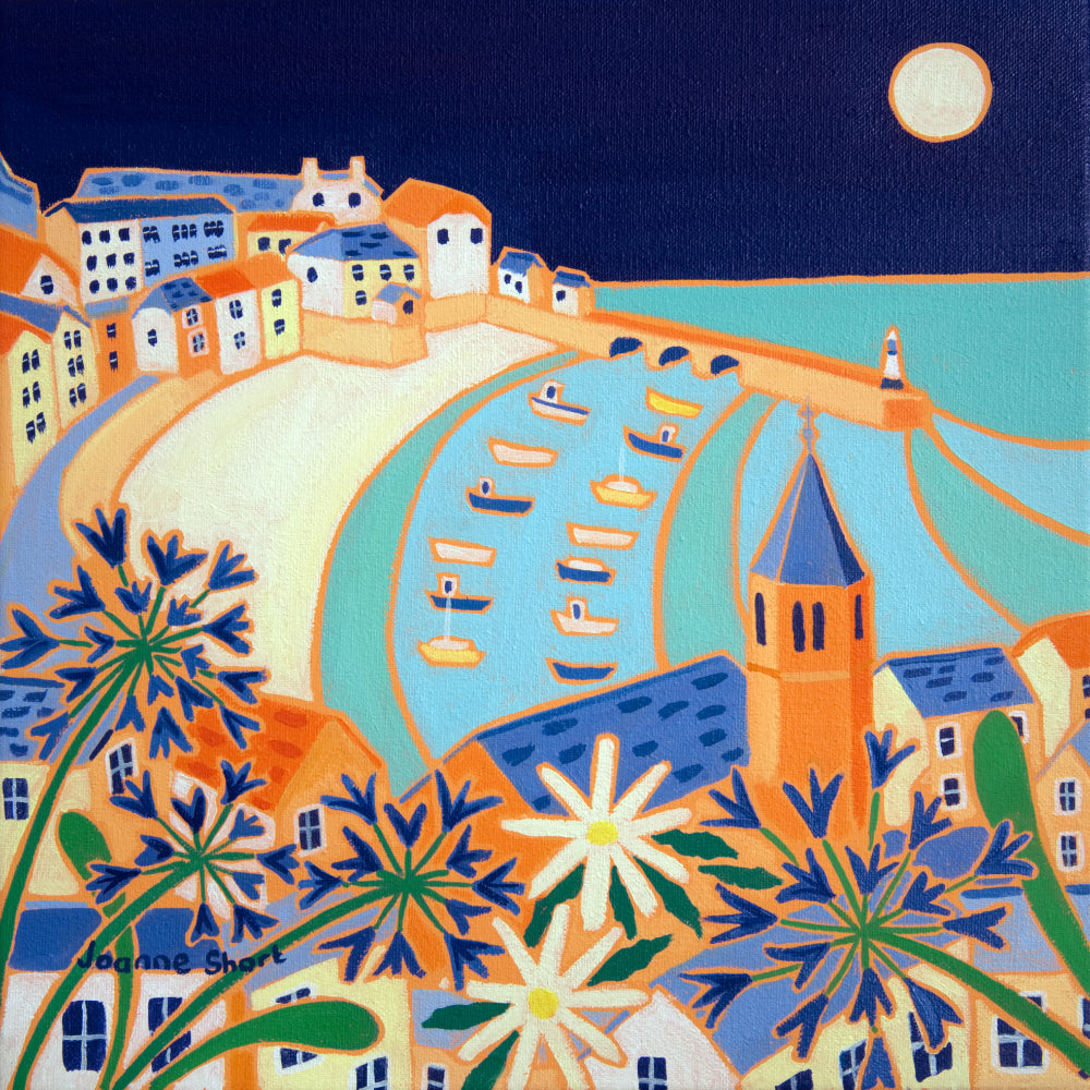 Original Painting by Joanne Short. Harvest Moon, St Ives