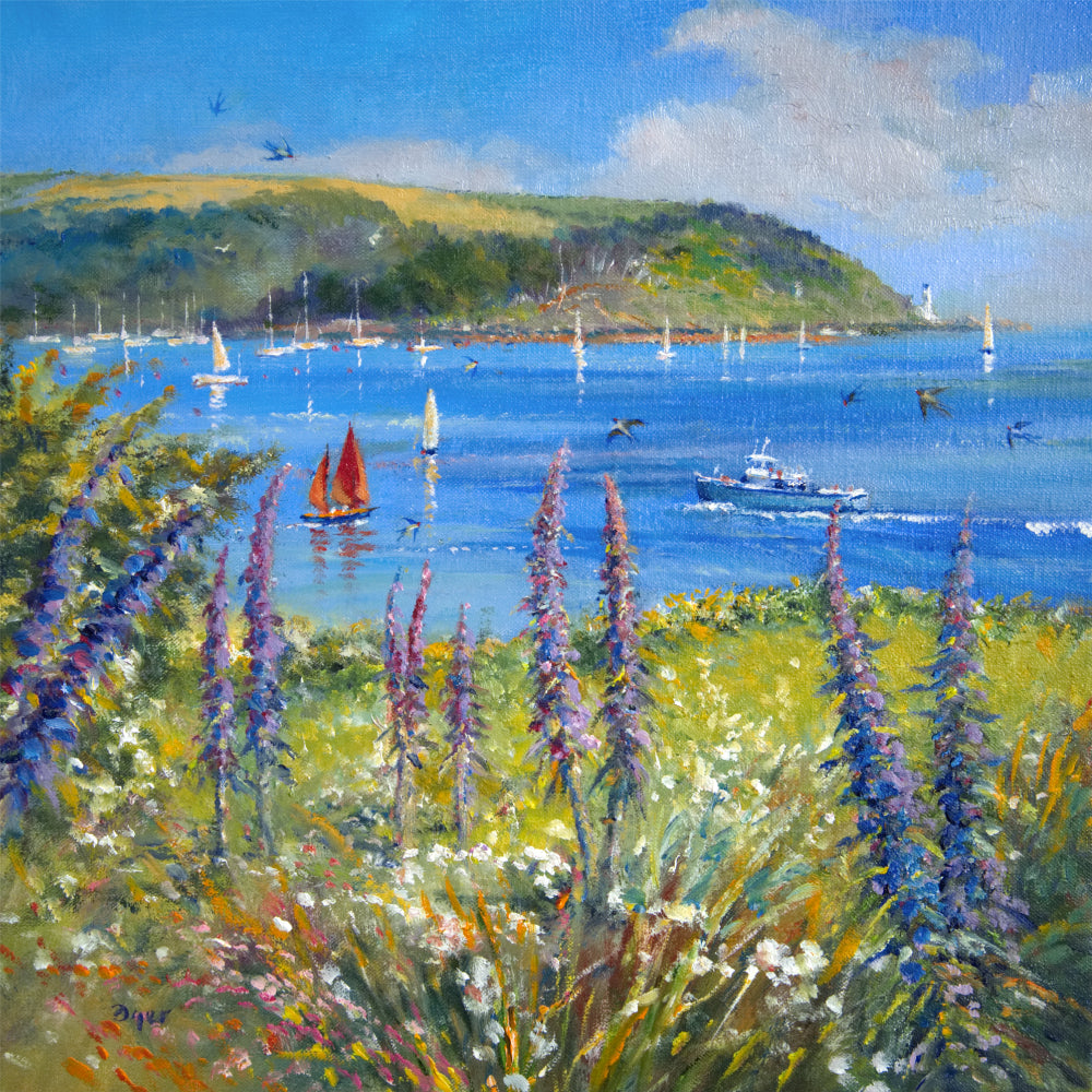Ted Dyer painting. Echium Blues, St Mawes