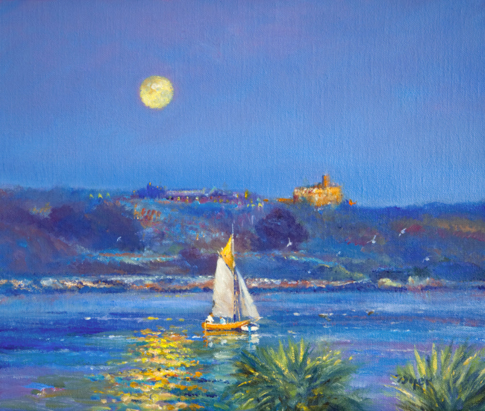 Painting by Ted Dyer. Moonlit Sail, Falmouth