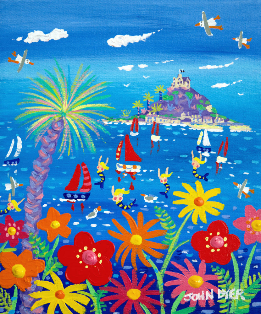 John Dyer Painting. Colourful Cornish Day, St Michael's Mount