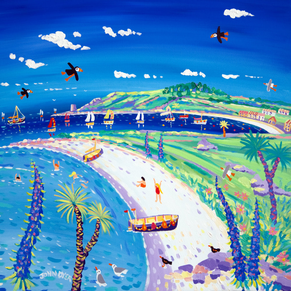 John Dyer Painting. Blue Sky and Puffins, Tresco, New Grimsby