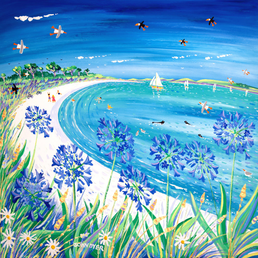 Original Painting by John Dyer. Blue Agapanthus and Sparkling Sand, Pentle Bay, Tresco
