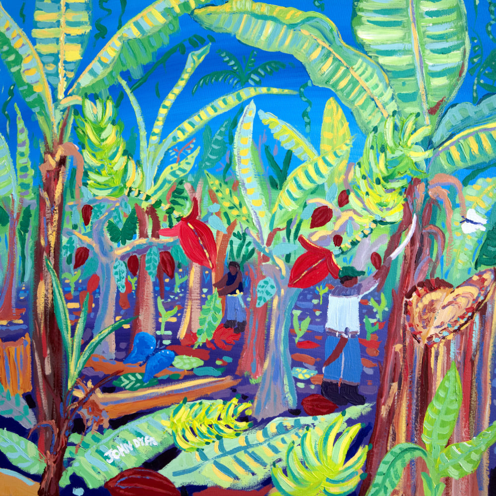 John Dyer Painting. Intercropping and Chopping, Costa-Rican bananas