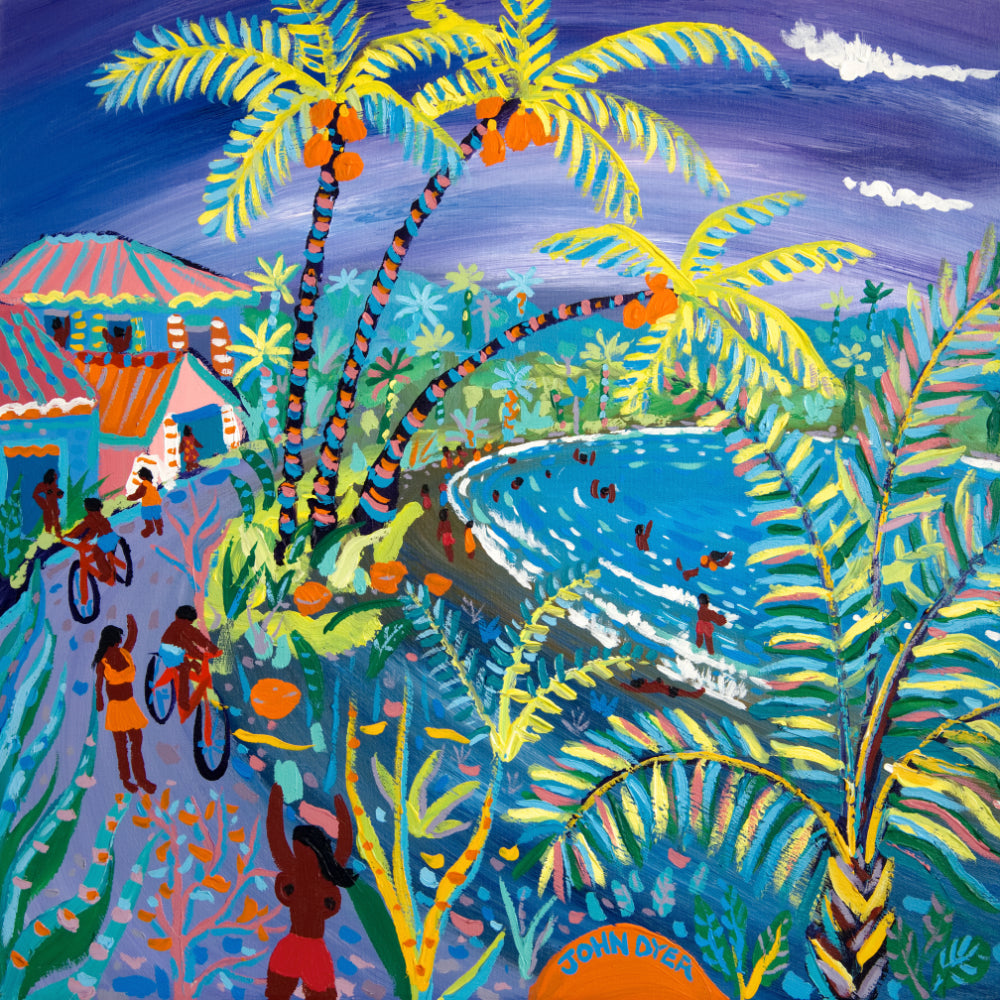 John Dyer Painting. Swaying Caribbean Coconuts, Costa Rica